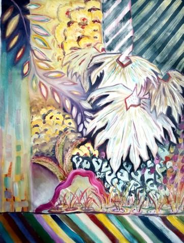 Wild African Garden - Oil and acrylic on canvas (79 x 105 cm)