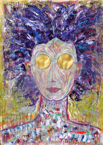 SOLD - The Golden Girl - Oil and acrylic on canvas (70 x 98 cm)
