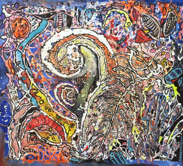 SOLD - Deep Sea Mysteries - Oil and acrylic on canvas (55 x 60 cm)