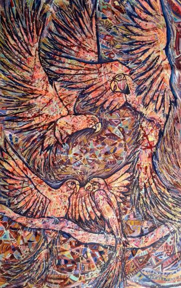 SOLD - Parrots of the Night - Oil and acrylic on canvas (78 x 126 cm)