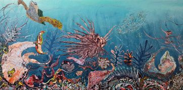 SOLD - Deep Sea Life - Acrylic and binding medium on canvas (90 x 180 cm)