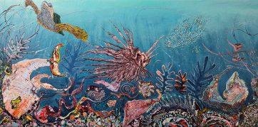 SOLD - Deep Sea Life - Acrylic and binding medium on canvas (90 x 180 cm)