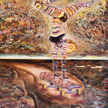 SOLD - Futuristic Skater - Oil and acrylic on canvas (95 x 115 cm)