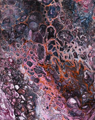 Mystical Lakes- Acrylic and bindingmedium on canvas (24 x 30 cm)