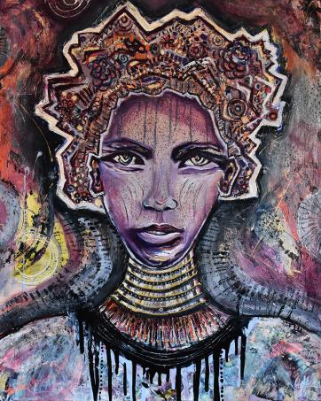 Mystical Warrior - Oil and Acrylic on canvas (80 x 120 cm)