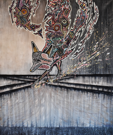 SOLD - Balancing Act- Oil and acrylic on canvas (95 x 115 cm)