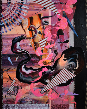 Space - Acrylic, spraypaint , Ugandan fabric and paper on canvas (80 x 100 cm)