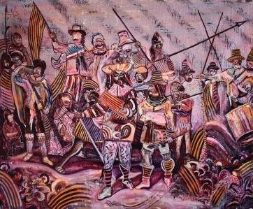De Nachtwacht - Tussen Twee Werelden in (150 x 180 cm) - Acrylic, oil and spray paint on canvas